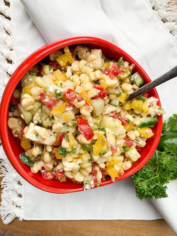 fresh corn salad from the garden