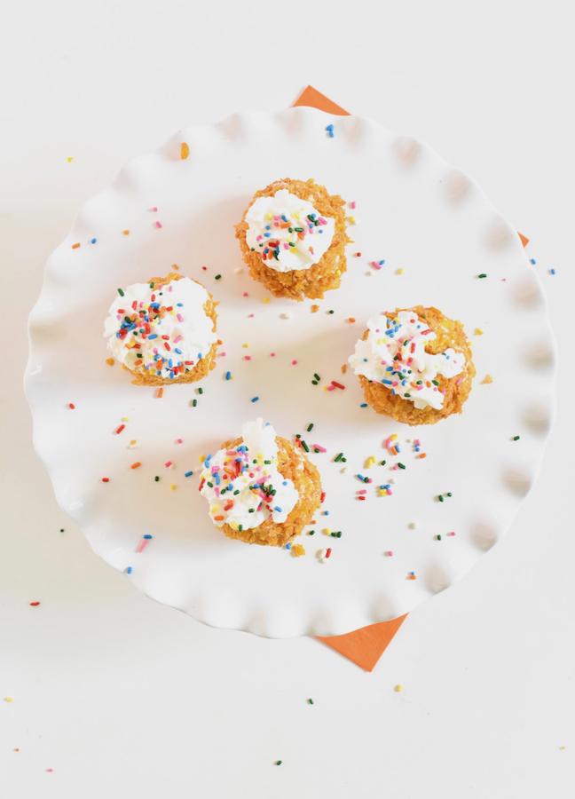 fried vanilla ice cream with sprinkles
