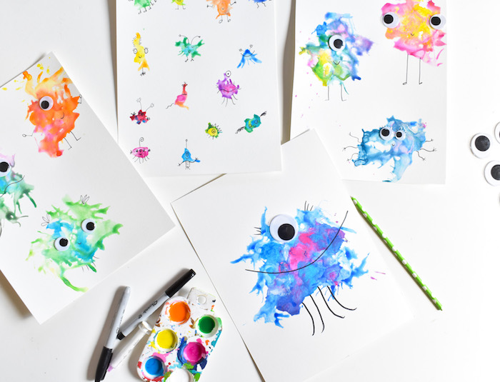 DIY blow art with a straw-googly eye monsters art for kids