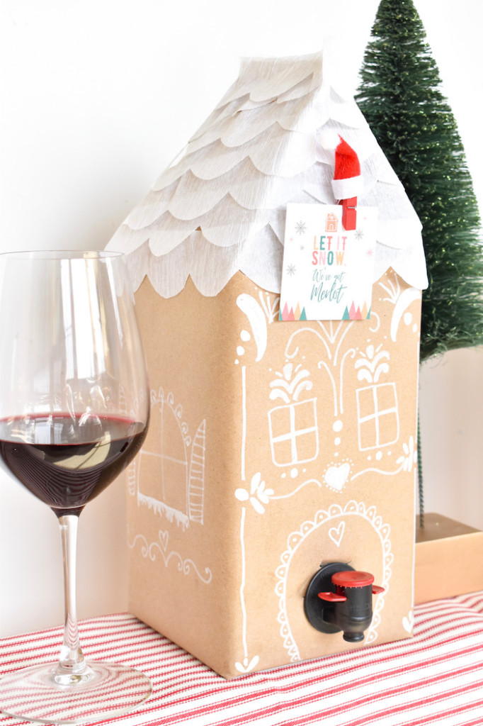 diy boxed wine gingerbread houses-holiday DIY