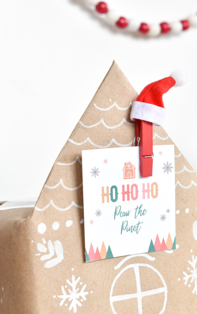 diy boxed wine gingerbread houses-holiday DIY-ho ho ho pour the pinot-wine craft