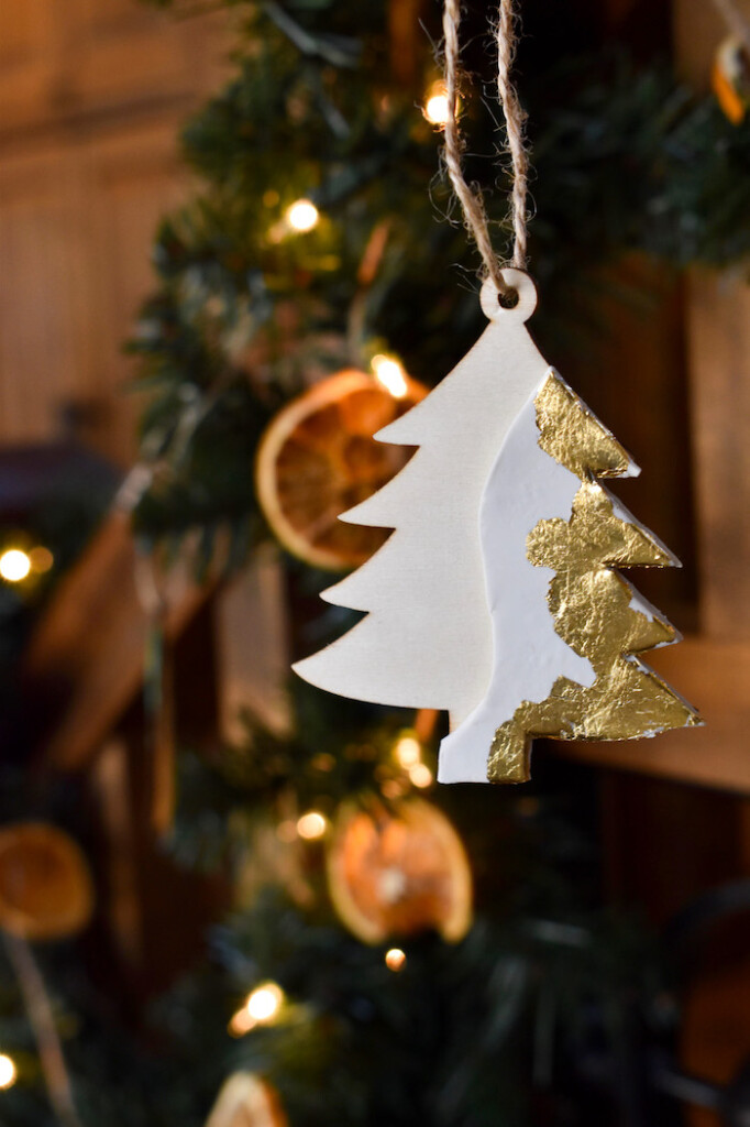 diy modern christmas tree ornament with clay and gold