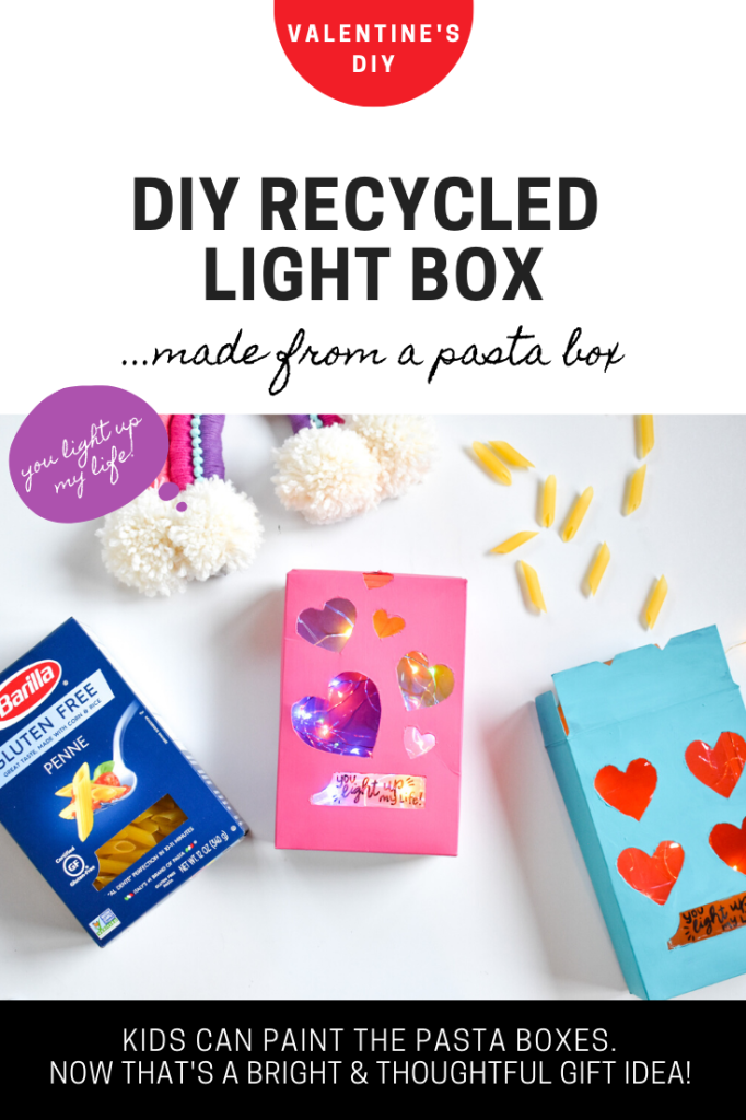 diy recycled pasta box-light box craft-twinkle lights