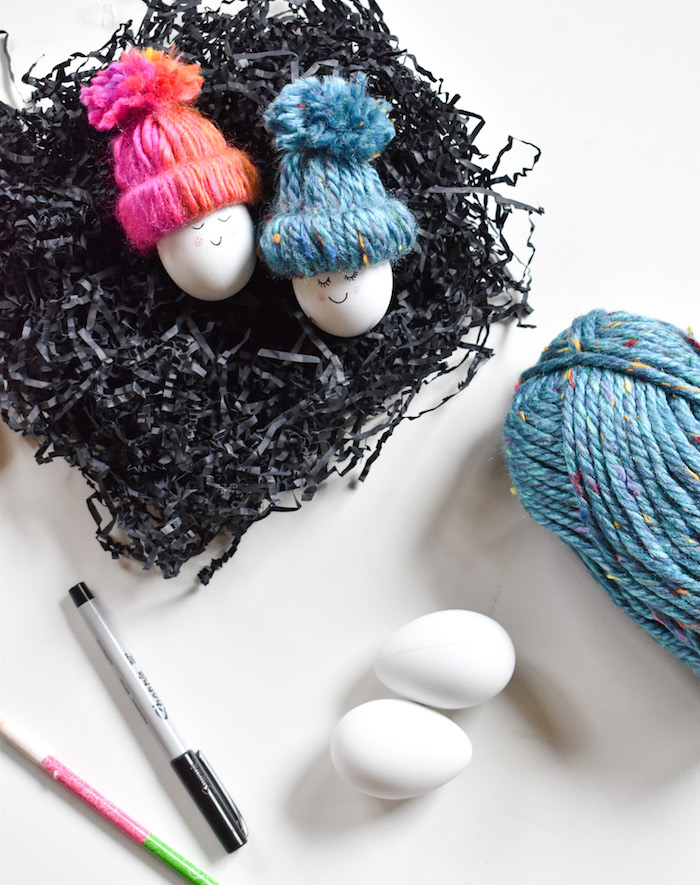diy easter eggs with diy beanies, happy eggs, crafts for kids, spring craft