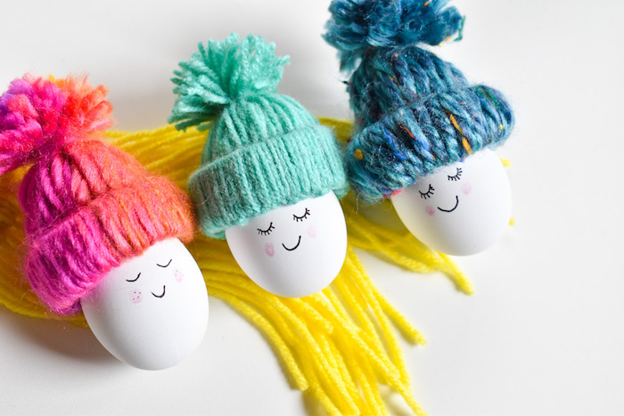 diy easter egg-diy yarn beanie-spring-happy egg