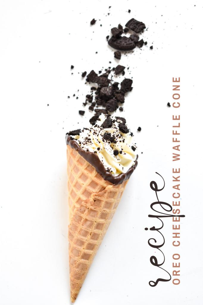 oreo cheesecake waffle cones-homemade dessert