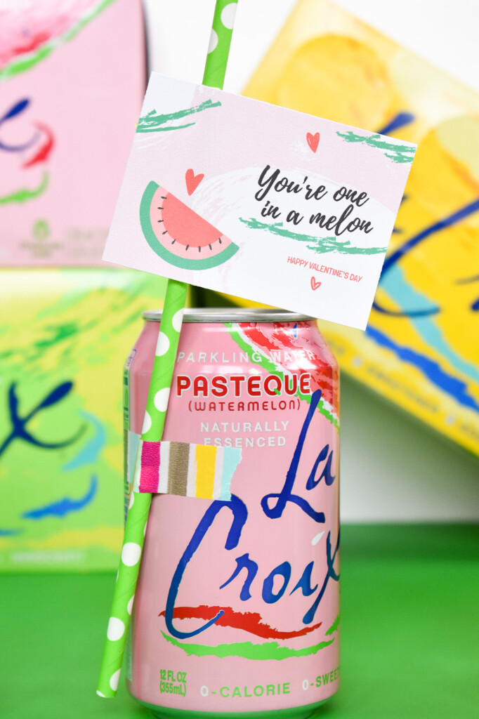 watermelon lacroix for valentines day with free printable